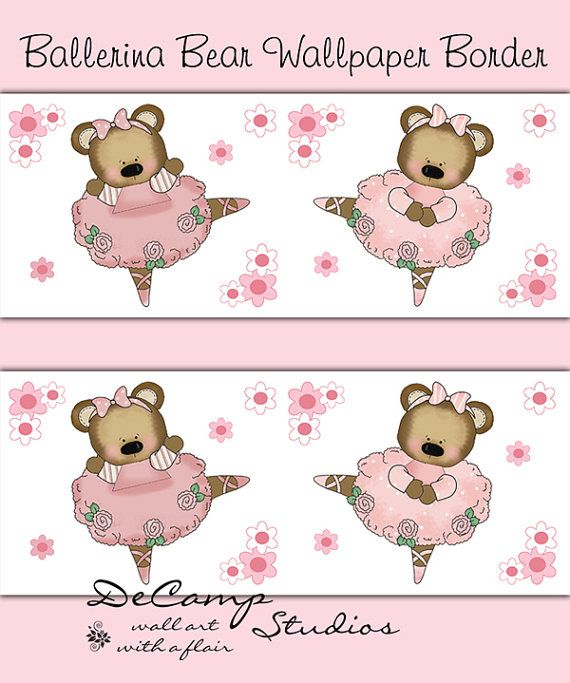 Pink Ballerina Damask Silhouette wallpaper border wall decals for ...