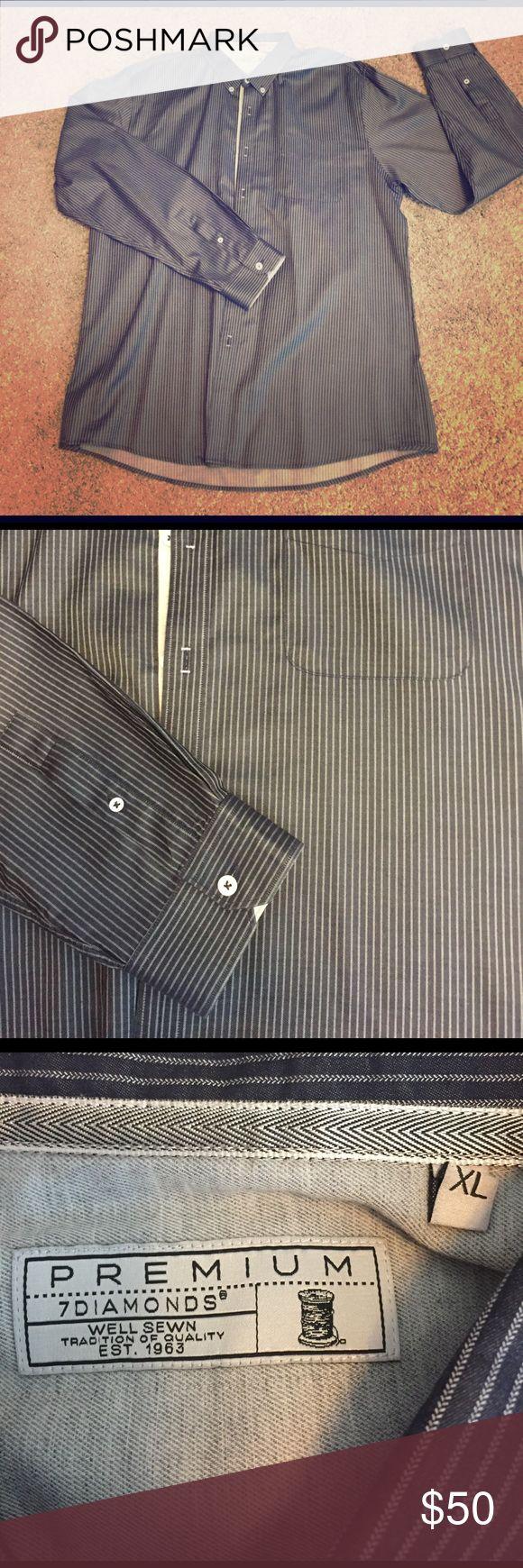 7 Diamonds Premium Mens Dress Shirt XL. 7 Diamonds Premium men's dress shirt. Like new. Dark blue with white pin stripes. 7 Diamonds Shirts Dress Shirts