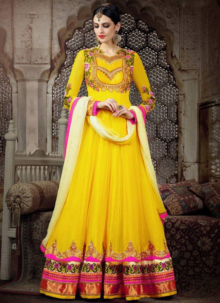 Yellow Net Floor Length Anarkali Suit (REG: $96 + $15 = $111)