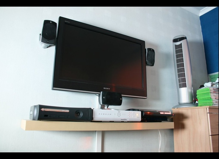 Ideas about mounting tv, like shelf and cord hider