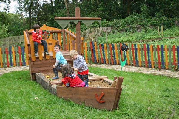 sandpit ship made from reclaimed timber