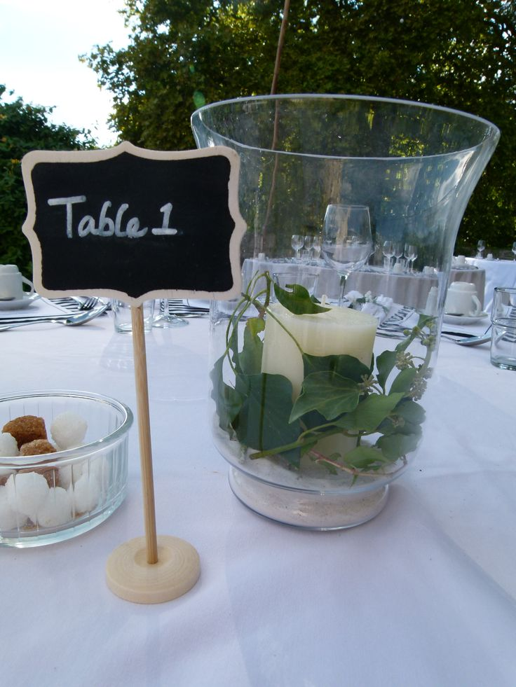 Ivy, candles in hurricane lantern for the tables - write your own table numbers