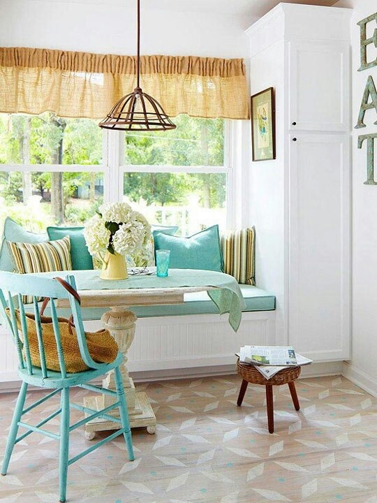 Sunny breakfast room with a window seat.... Lis Lower the counter (maybe add storage underneath