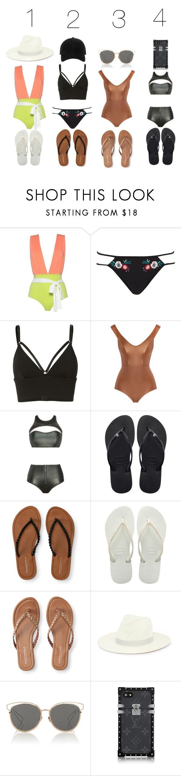"""""""Which One Would You Wear?"""" by bill-board ❤ liked on Polyvore featuring River Island, T By Alexander Wang, Zimmermann, Havaianas, Aéropostale, Janessa Leone, Christian Dior and rag & bone"""