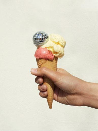 Disco ball and ice cream.