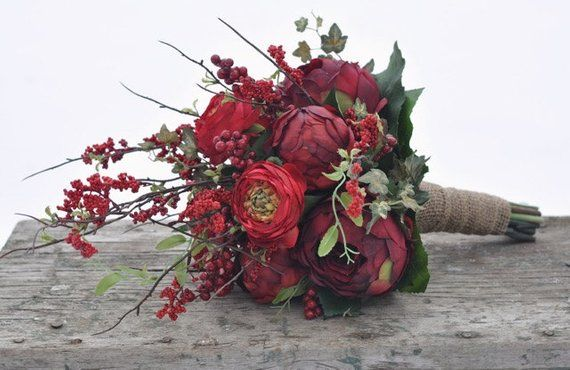 Wedding Flowers, Country Wedding, Red Rose, Ranunculus, Berry, Peony Bouquet wra… – Products