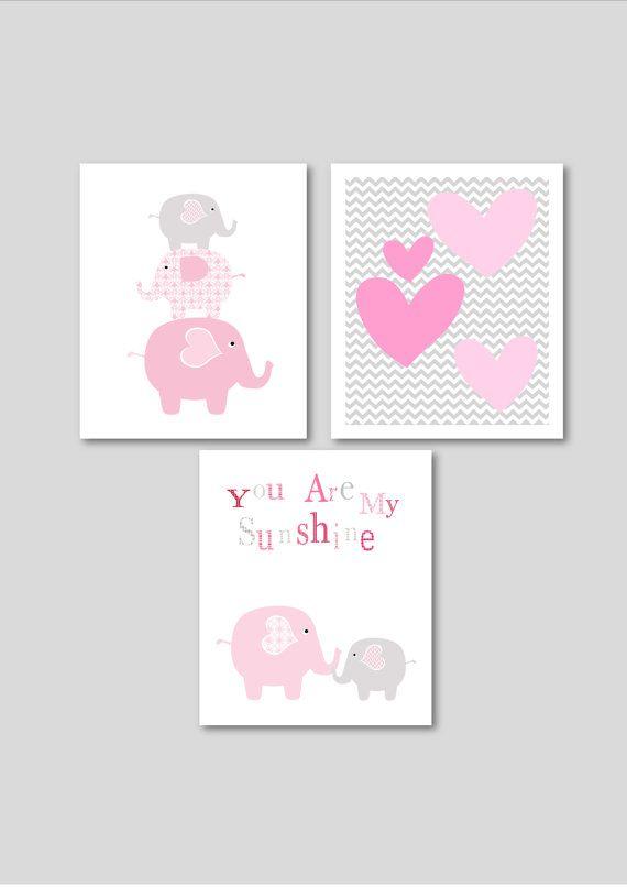 Pink Elephants printable nursery art set, instant download, elephant nursery art, grey and pink nursery decor, elephants nursery decor via Etsy