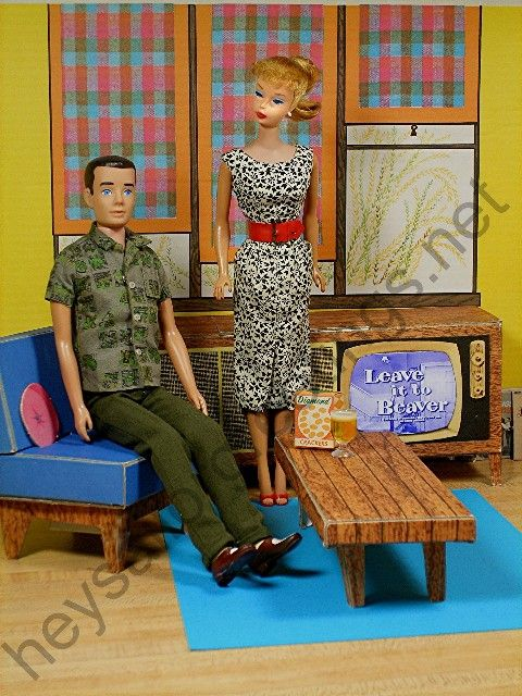 "Barbie and Ken watching ""Leave it to Beaver"" in the 1962 Dream House by Hey Sailor Greetings"