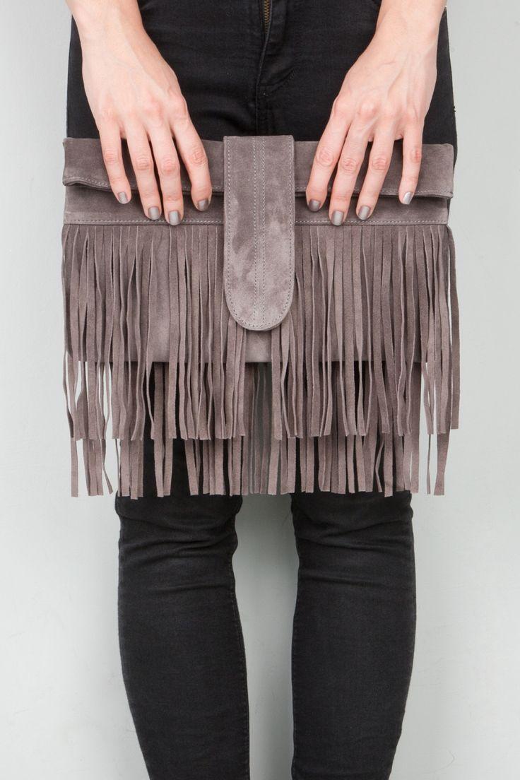 Grey Fringed Clutch Bag
