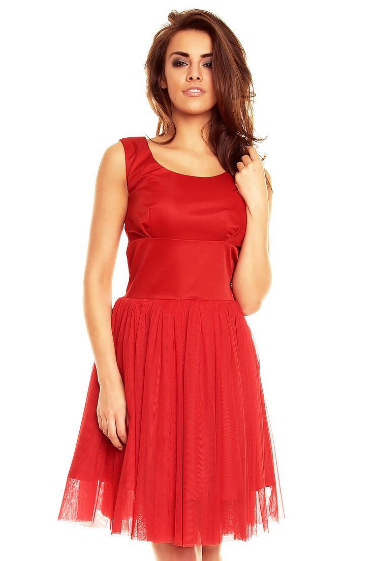 Balowa sukienka z tiulową spódnicą KM130-1 Czerwony Kartes-Moda