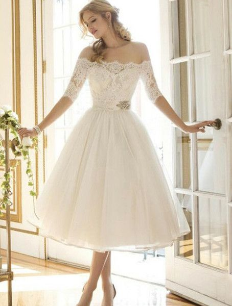 739e48552ecb Discount Gorgeous White Lace Appliques Short A Line Wedding Dresses Sexy  Beteau Neck Half Sleeves Tea Length Wedding Gowns 2018 Bridal Wedding Dress  Ball ...