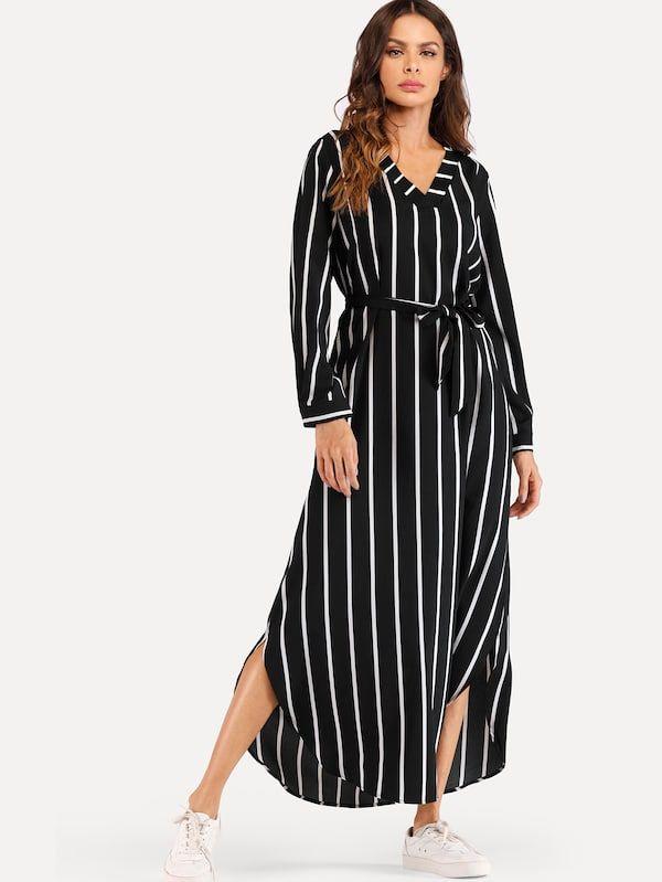 e93b9ccc54 Striped Self Tie Waist Split Dress in 2019 | Women's Maxi Dresses ...