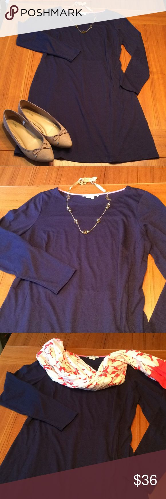 "Boden navy blue long sleeved dress size 10 EUC Beautiful blue dress with long sleeves. Excellent Boden quality. Lightweight. Can be dressed up for work or casual for the weekend. Size 10. 50% cotton 50% modal 35"" shoulder to hem. Boden Dresses Long Sleeve"