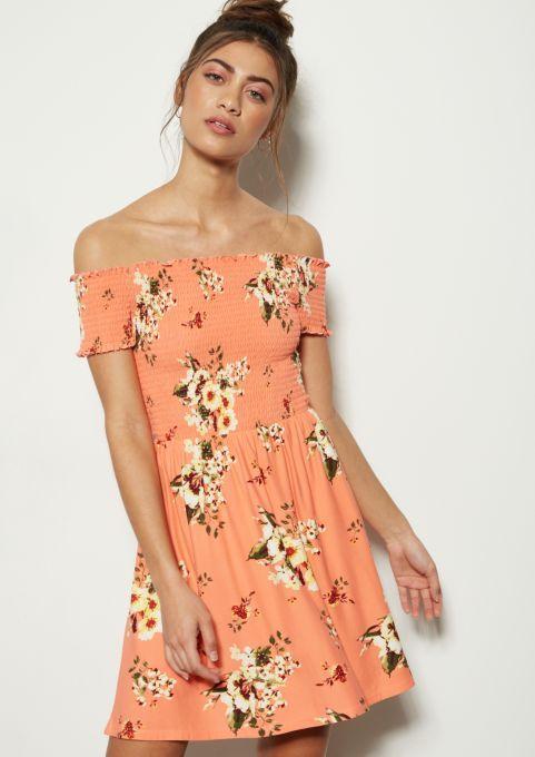 c1f4be7bd9cf Coral Floral Print Off The Shoulder Super Soft Smocked Dress | Casual  Dresses | rue21