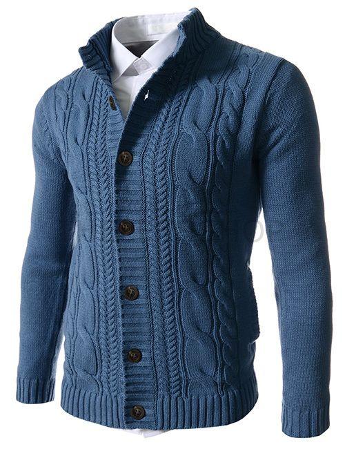 (FFC19-BLUE) Mens Slim Fit Twist Knitted 7 Button Cardigan