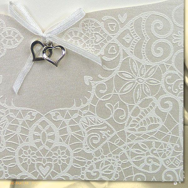 faire part mariage pochette effet dentelle coeurs argent mh15 011 faire part pinterest. Black Bedroom Furniture Sets. Home Design Ideas