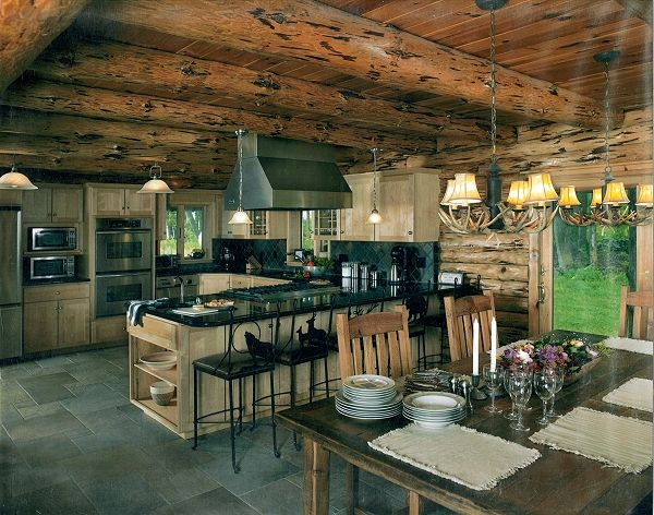 37 best images about log home kitchens on pinterest for Adirondack cabin builders