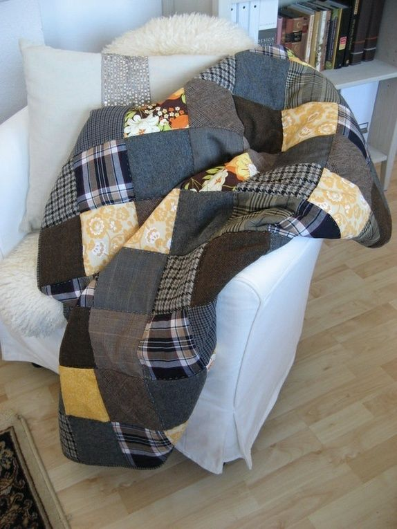 Vintage tweed and cotton patchwork Quilt