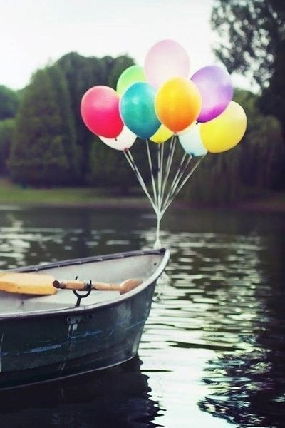 Happiness ... #rainbow #color #boat #balloons #lake