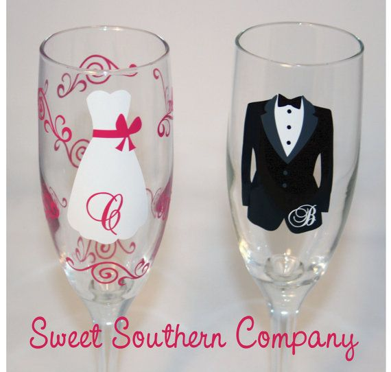 Bride and Groom Champagne Flutes Perfect