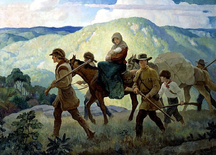 """Daniel Boone - The Home Seeker - Cumberland Valley"" c. 1940, oil on canvas, 30"" x 41"" (The Home Insurance Company advertisement)"
