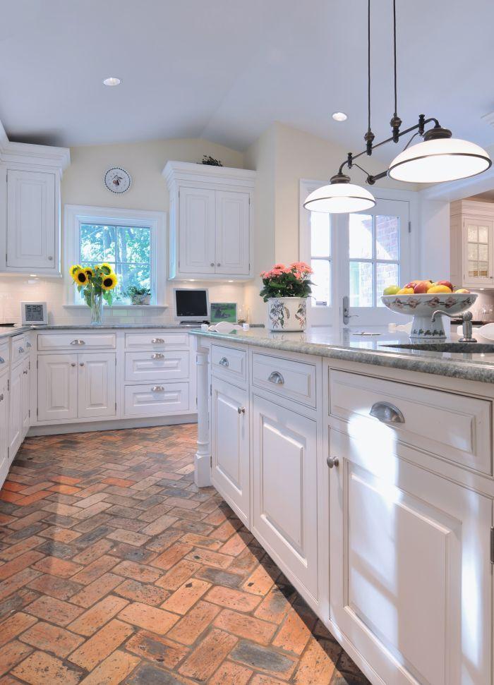 Best Basic White Kitchen With Brick Flooring Holds The Heat 400 x 300