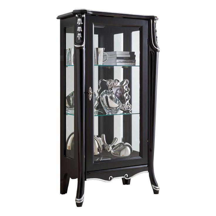 """Vetrinetta anta singola """"Beautiful line"""" - ArteFerretto Vetrina nera per soggiorno elegante. Mobile vetrina di lusso. http://www.styledesign.it/prodotto/vetrinetta-anta-singola-beautiful-line/"""