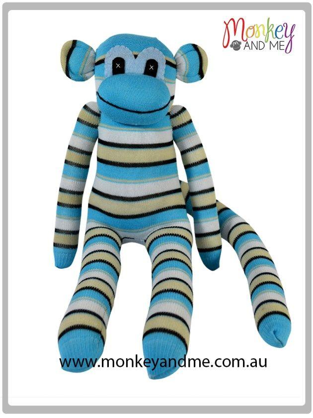 Blue White Beige Navy Sock Monkey   Adopt over at monkeyandme.com.au #sockmonkeys #gifts #toys