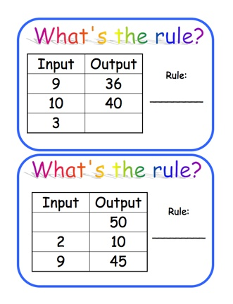 """Here's a set of 30 function machine """"guess the rule"""" cards. Operations include multiplication and division. These are available in 2 different files from ProTeacher. You must login to download. (Membership is free.)"""