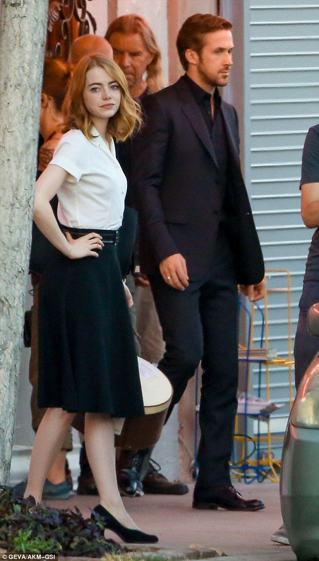 Hot in the city:Things got a little heated on the set of La La Land between Ryan Gosling and Emma Stone in Los Angeles, California, on Friday