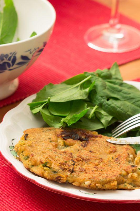 Pancakes salées tofu soyeux - farine pois chiches et farine maïs - VEGETALIEN