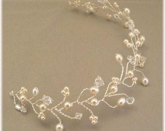 Pelo de novia oro vid Tiara accesorios Wedding por BridalDiamantes