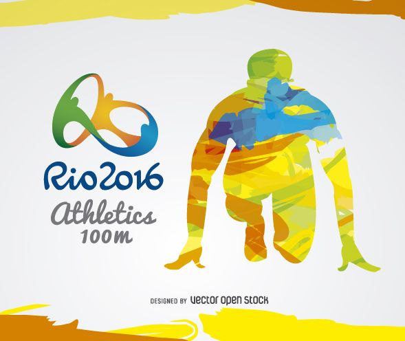 Rio 2016 colorful design featuring a runner in ready position. Rio 2016 logo at the left side. Who's your favorite runner?Rio 2016 logo can only be used