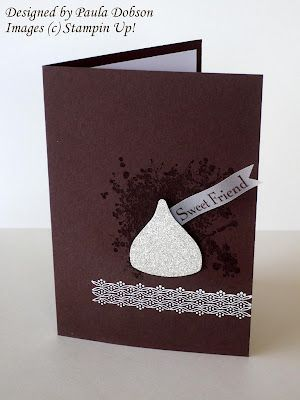 Stampin' Up! Builder Blossom punch in glitter paper for chocolate kiss.  by Paula Dobson
