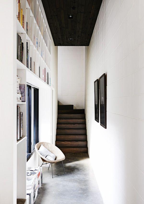 walnut, white + concrete. built in library | the design files