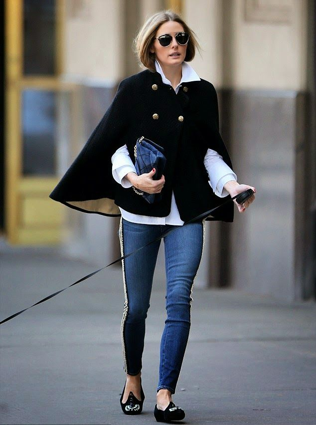 Black gold buttoned cape with white shirt