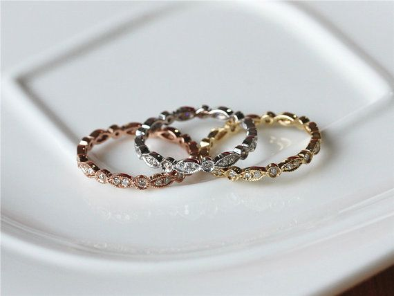 Full Eternity Band 14k Rose White Yellow Gold Pave by ByLaris