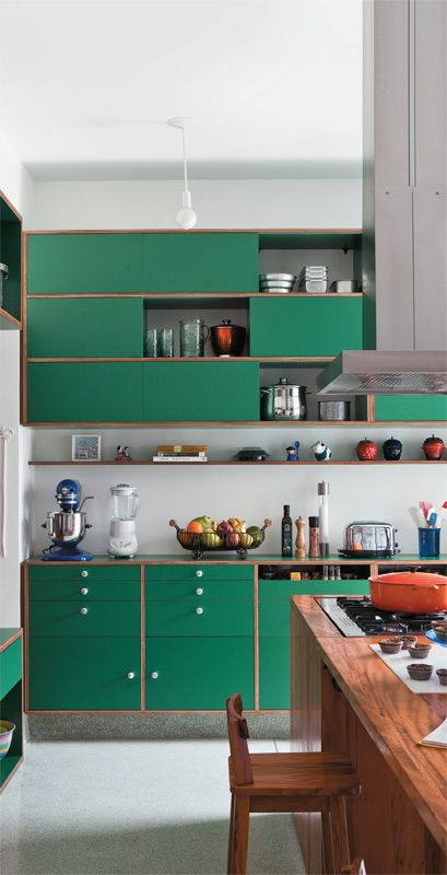 green modern kitchen cabinetry