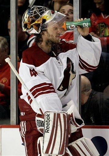 04/23/12: Mike Smith the brick wall - Stopping all thirty-nine shots - It's all in the hair (Phoenix Coyotes shutout Blackhawks 4-0 in game six, advancing to the next round in playoffs for the first time since relocating to Phoenix)