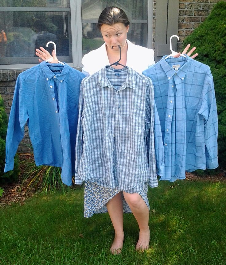 Three blue men's dress shirts used for a refashion | Diary of a MadMama