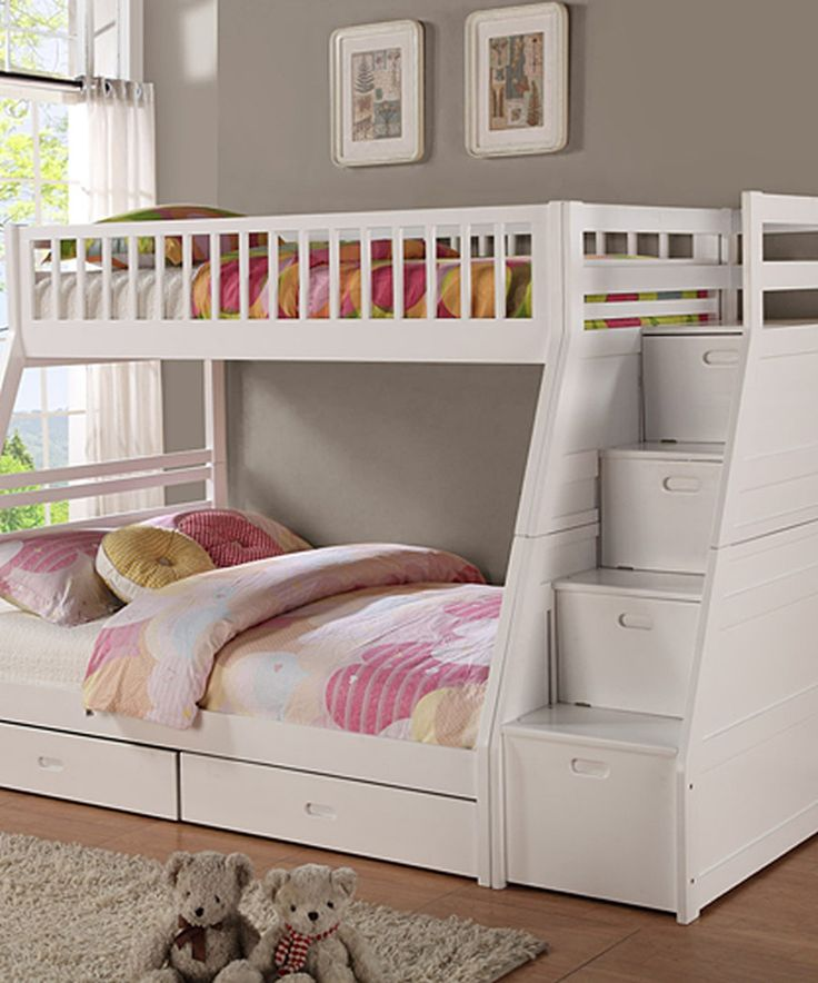 White Twin Over Full Staircase Bunk Bed