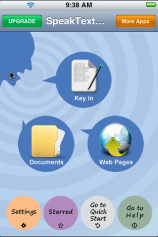 SpeakText - Speak & Translate Text Documents and Web pages ($9.99) 1. Speak & translate the touched words on web pages and documents. 2. Speak & translate the whole page from start or touched words to the end sentence by sentence. 3. Search and speak the whole page from matching words to the end sentence by sentence. 4. Sentence by sentence window. 5. Support powerful speaking repeat, pause and speed options.