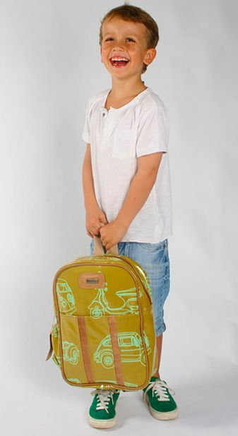 Fun, beautiful Thandana Kiddies Backpack lime and mustard in color with a car motive.  Shop @ www.wave2africa.com