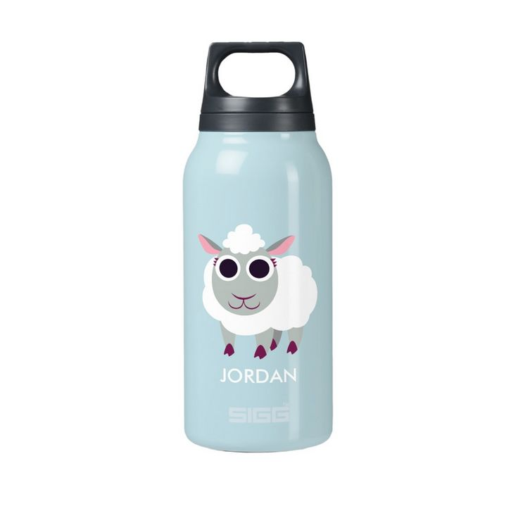 Baa-by it's hot outside! Lulu the Sheep on insulated SIGG Thermos Water Bottle. Lunchbox size.