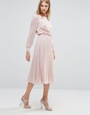 Warehouse Satin & Lace Paneled Midi Dress