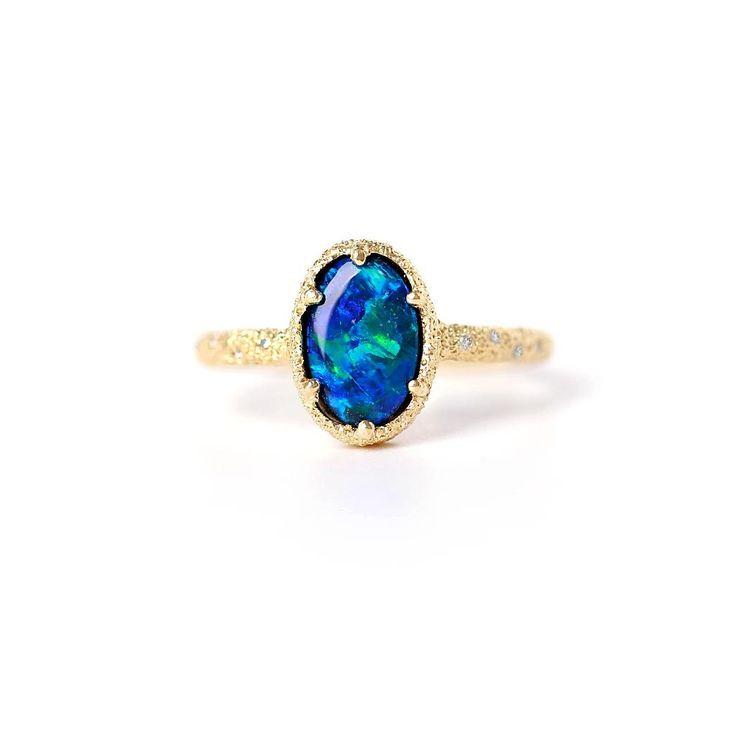 METEORITE GALAXY OPAL RING. Australian Opal, Diamonds, 14k yellow gold