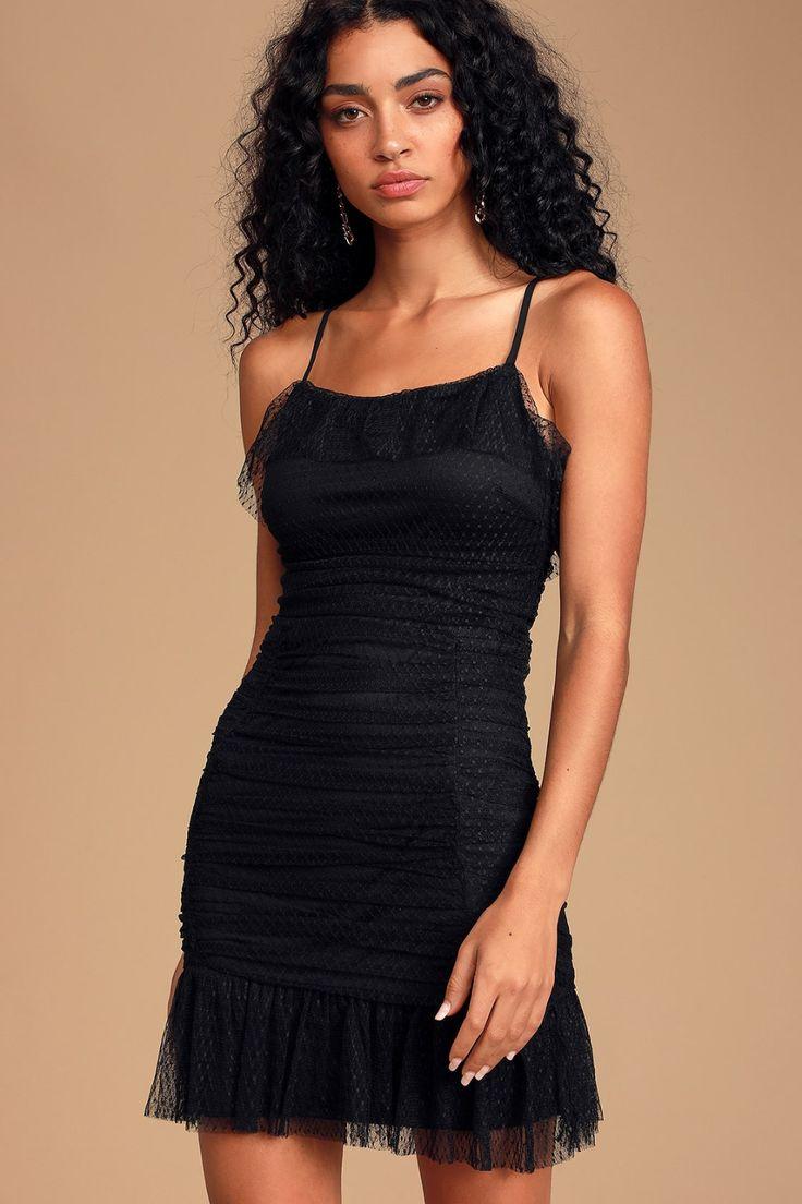 Beautiful belle black mesh ruched mini dress black mesh