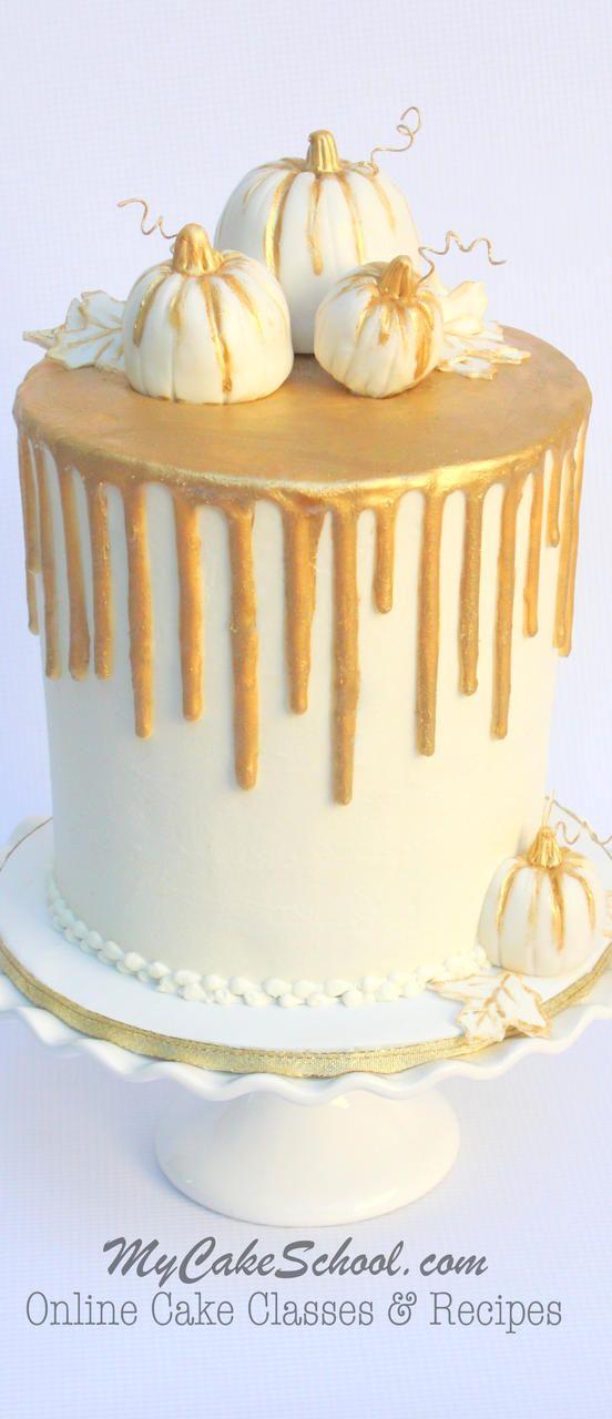 Elegant Gold Drip on Buttercream Cake- MyCakeSchool.com Cake Video Tutorial!