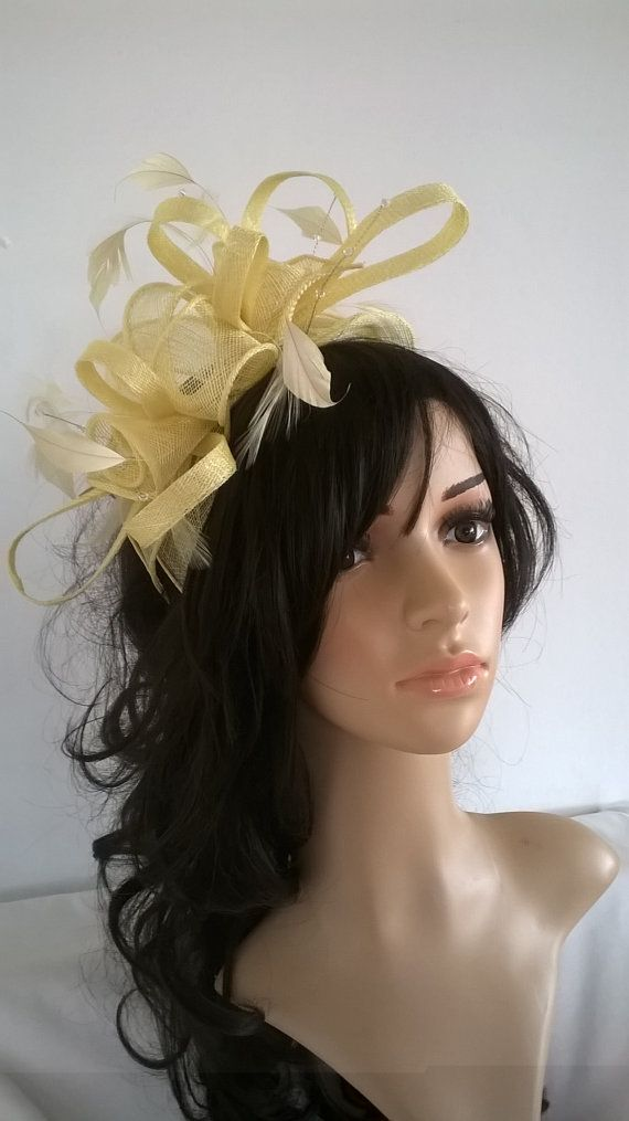 Stunning Pale Lemon Sinamay and  Feather Fascinator