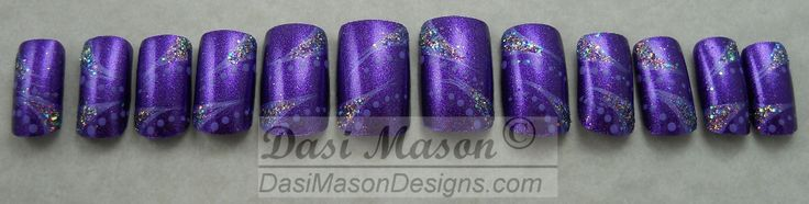 Violet Spikes and Dots Instant Acrylic Nail Set